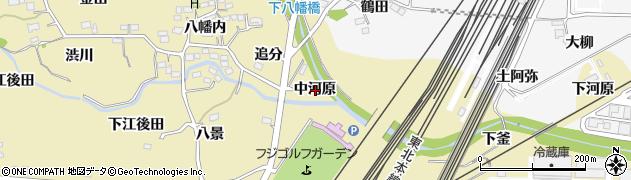 福島県福島市北矢野目(中河原)周辺の地図