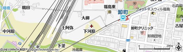 福島県福島市北矢野目(下河原)周辺の地図