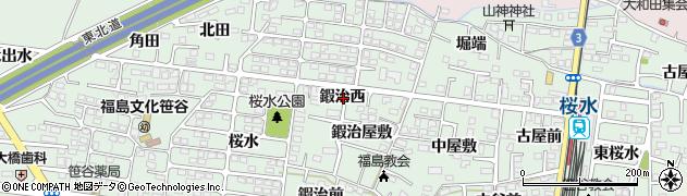 福島県福島市笹谷(鍜治西)周辺の地図