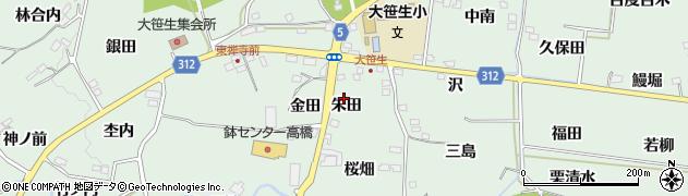 福島県福島市大笹生(朱田)周辺の地図
