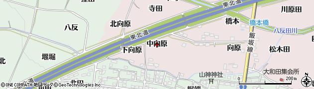 福島県福島市飯坂町平野(中向原)周辺の地図