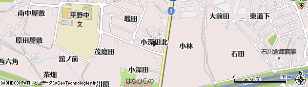 福島県福島市飯坂町平野(小深田北)周辺の地図