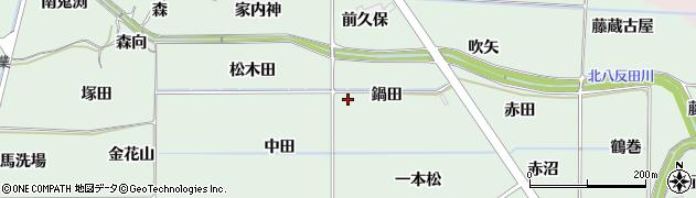 福島県福島市大笹生(鍋田)周辺の地図