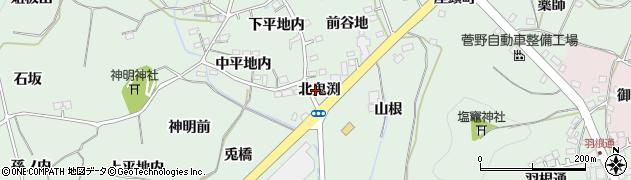福島県福島市大笹生(北鬼渕)周辺の地図
