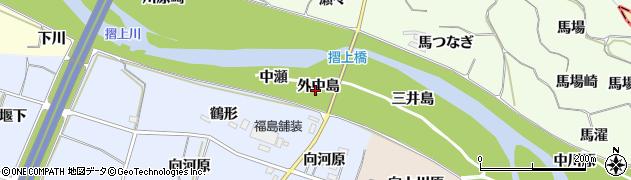 福島県福島市飯坂町東湯野(外中島)周辺の地図