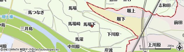 福島県福島市飯坂町東湯野(馬場下)周辺の地図