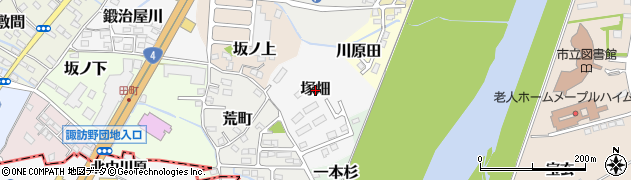 福島県伊達市塚畑周辺の地図
