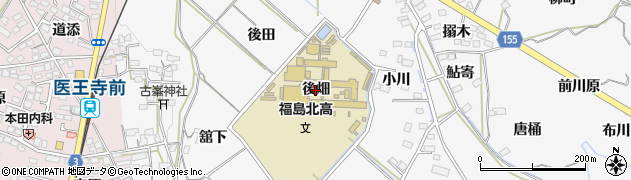 福島県福島市飯坂町(後畑)周辺の地図