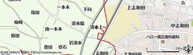 福島県福島市飯坂町東湯野(清水上)周辺の地図