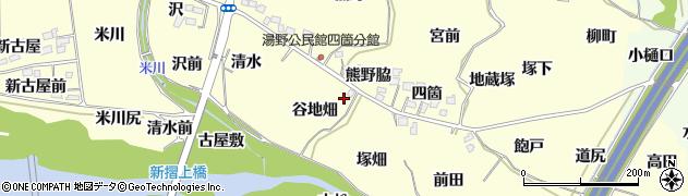 福島県福島市飯坂町湯野(谷地畑)周辺の地図