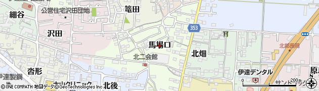 福島県伊達市馬場口周辺の地図