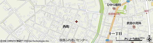福島県伊達市保原町(西町)周辺の地図