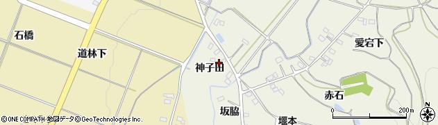 福島県伊達市梁川町新田(神子田)周辺の地図