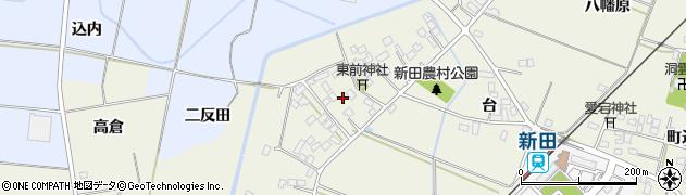 福島県伊達市梁川町新田(東前)周辺の地図