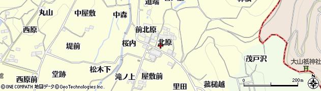 福島県福島市飯坂町湯野(北原)周辺の地図