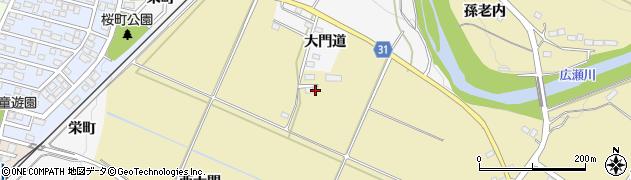 福島県伊達市梁川町大関(西大門)周辺の地図