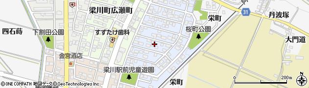 福島県伊達市梁川町桜町周辺の地図