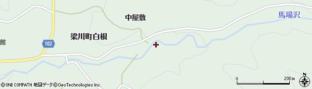 福島県伊達市梁川町白根(大北向)周辺の地図