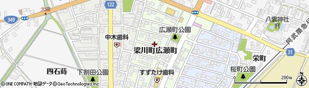 福島県伊達市梁川町広瀬町周辺の地図
