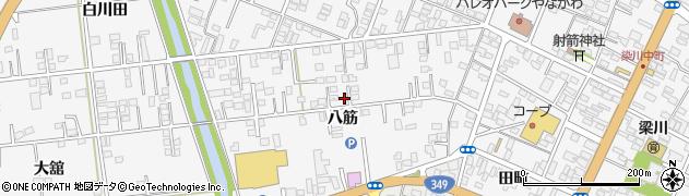 福島県伊達市梁川町(八筋)周辺の地図