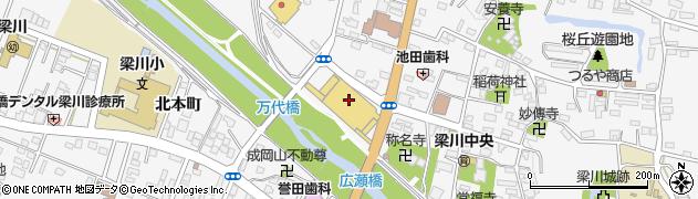 福島県伊達市梁川町(右城町)周辺の地図