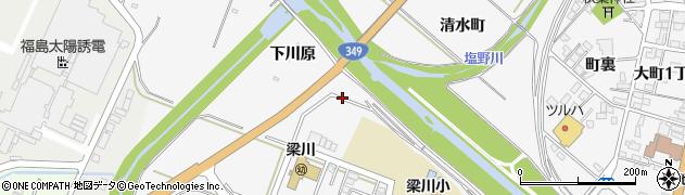 福島県伊達市梁川町(下川原)周辺の地図