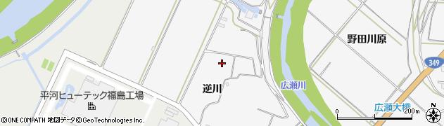 福島県伊達市梁川町(逆川)周辺の地図