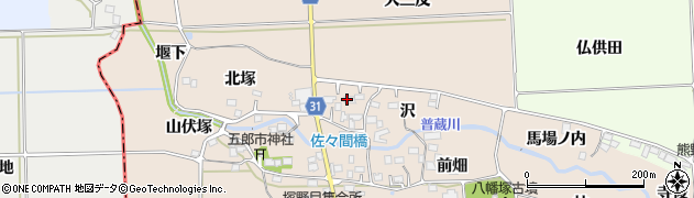 福島県伊達郡国見町塚野目沢周辺の地図