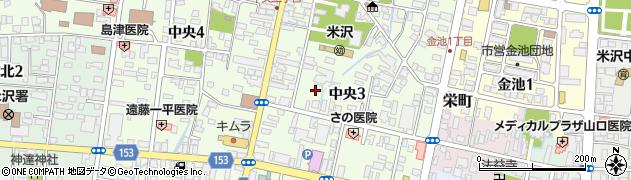 山形県米沢市中央周辺の地図