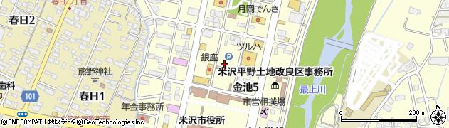山形県米沢市金池周辺の地図