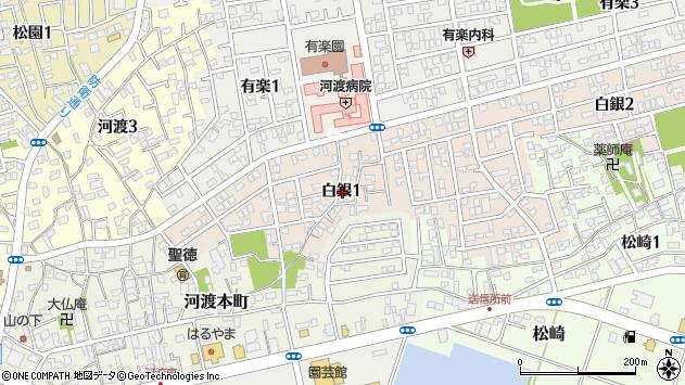 〒950-0013 新潟県新潟市東区白銀の地図