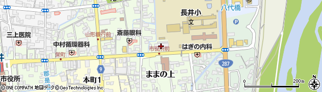 山形県長井市周辺の地図