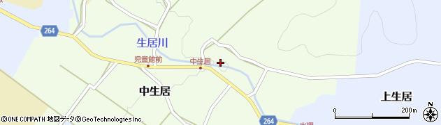 山形県上山市中生居116周辺の地図