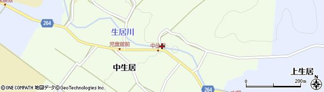 山形県上山市中生居112周辺の地図