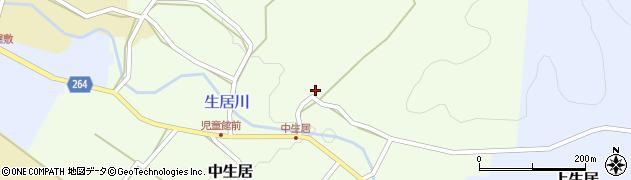 山形県上山市中生居104周辺の地図