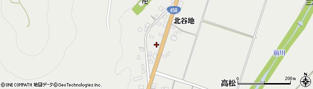 山形県上山市高松北谷地周辺の地図