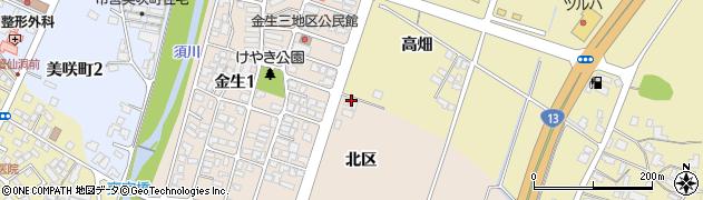 山形県上山市金生北区周辺の地図