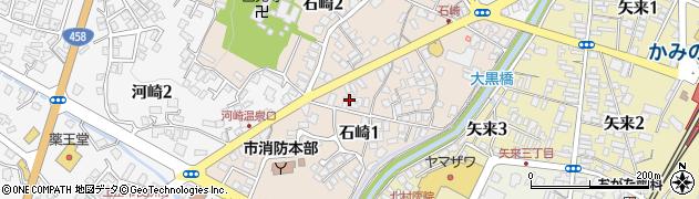 山形県上山市石崎周辺の地図
