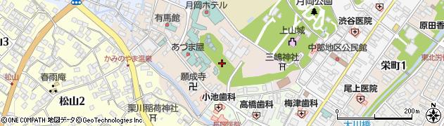 山形県上山市新湯周辺の地図