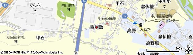 山形県上山市金谷(西屋敷)周辺の地図
