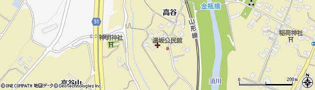 山形県上山市金瓶高谷74周辺の地図