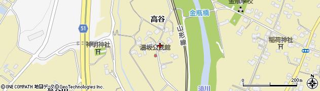 山形県上山市金瓶高谷周辺の地図