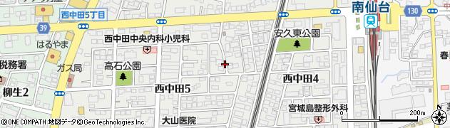 宮城県仙台市太白区西中田周辺の地図