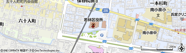 宮城県仙台市若林区周辺の地図