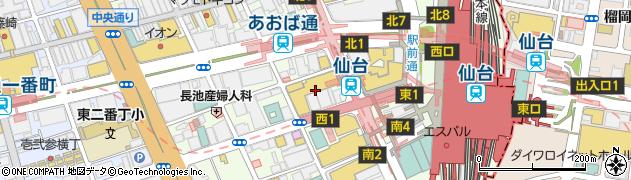 宮城県仙台市青葉区中央周辺の地図