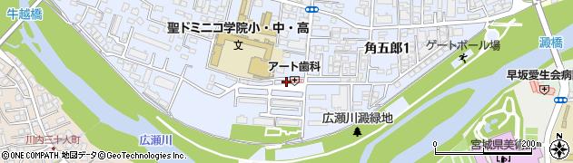 宮城県仙台市青葉区角五郎周辺の地図