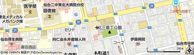 宮城県仙台市青葉区木町通周辺の地図