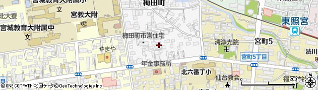 宮城県仙台市青葉区梅田町周辺の地図
