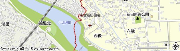 宮城県多賀城市新田西後周辺の地図