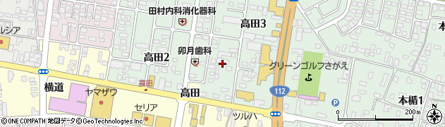 山形県寒河江市高田周辺の地図